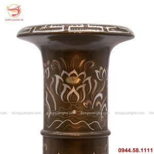 Ống đựng hương bằng đồng khảm tam khí cao cấp