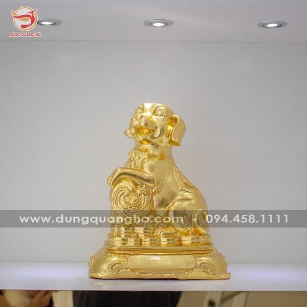 Tượng chó phong thủy may mắn, tài lộc dát vàng 9999 mẫu 2