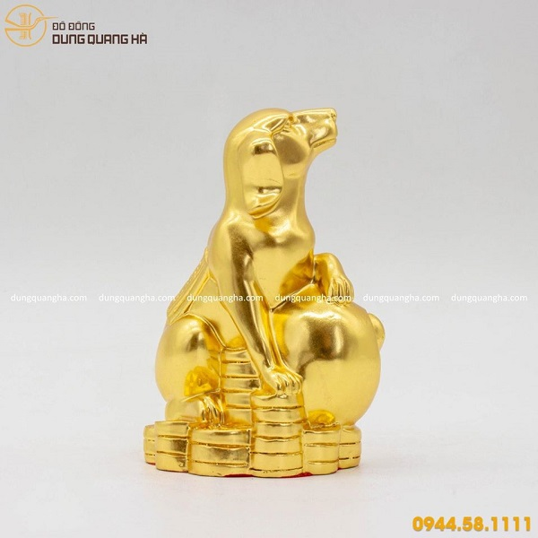 Tượng chó phong thủy thếp vàng 9999 thiết kế tinh xảo
