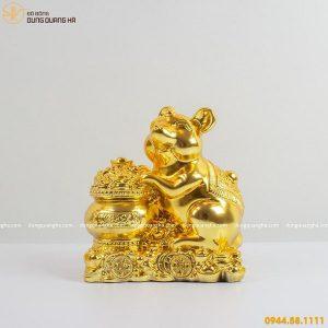 Tượng chuột phong thủy bằng đồng ôm hũ vàng tinh xảo