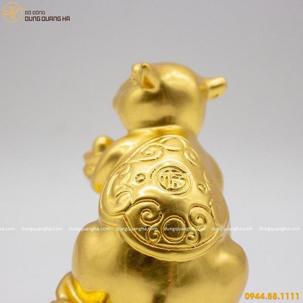 Tượng chuột phong thủy phúc lộc bằng đồng thếp vàng 9999