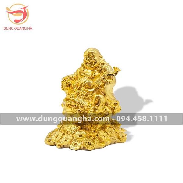 Tượng Di Lặc cưỡi Thiềm Thừ bằng đồng mạ vàng