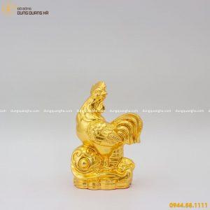 Tượng gà trống bằng đồng thếp vàng - mẫu thiết kế đẹp