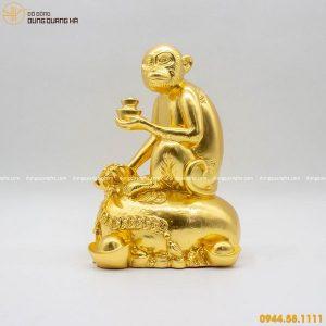 Tượng khỉ phong thủy thếp vàng sống động đẹp tinh xảo