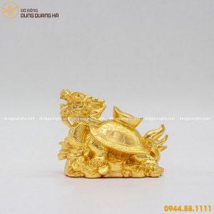 Tượng long quy bằng đồng thếp vàng 9999