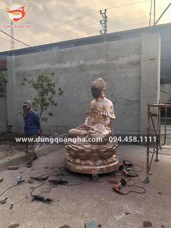 Tượng Phật A Di Đà bằng đồng cổ kính cao 1m5