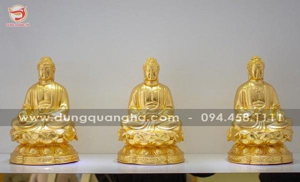 Tượng Phật A Di Đà bằng đồng thếp vàng 9999