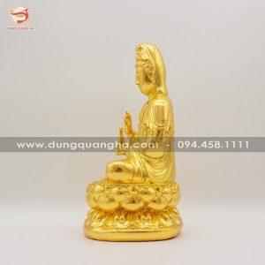 Tượng Phật bà Quan Âm bằng đồng thếp vàng 9999
