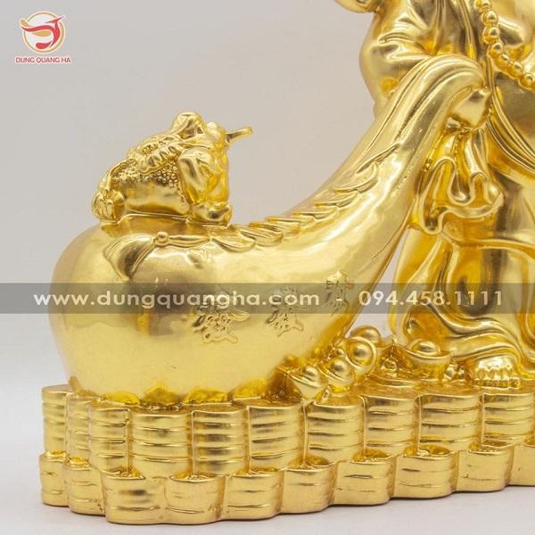 Tượng Phật Di Lặc kéo túi tiền thếp vàng 9999