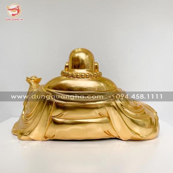 Tượng Phật Di Lặc ngồi bằng đồng mạ vàng 24k