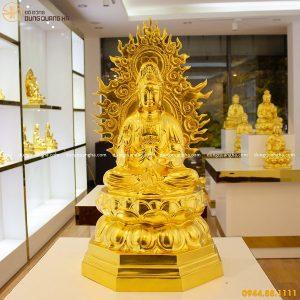 Tượng Phật Quan Âm bằng đồng thếp vàng 9999