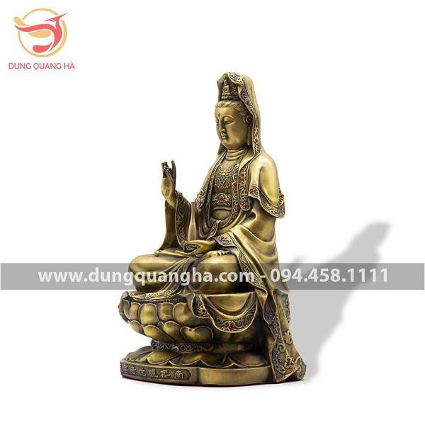 Tượng Phật Quan Âm bằng đồng vàng mộc