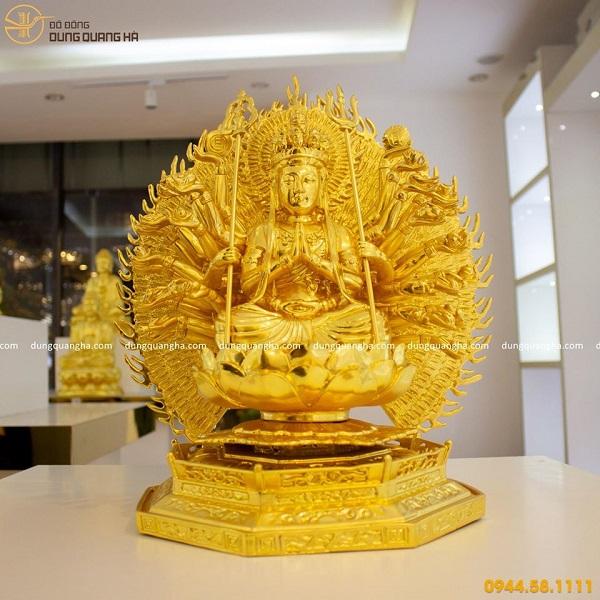 Tượng Phật Thiên Thủ Thiên Nhãn bằng đồng thếp vàng 9999