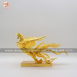 Tượng phượng hoàng phong thủy bằng đồng dát vàng 9999