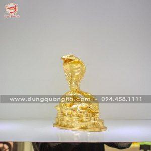 Tượng rắn phong thủy bằng đồng dát vàng 9999