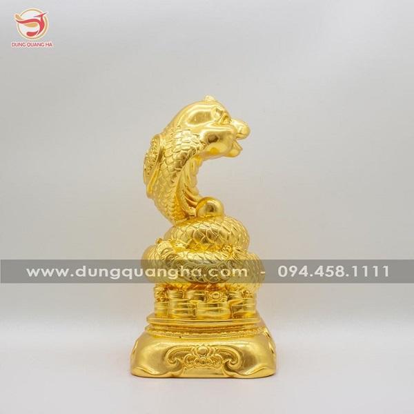 Tượng rắn phong thủy tài lộc cát tường dát vàng mẫu 2