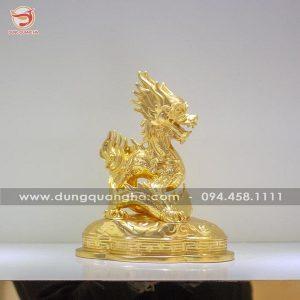 Tượng rồng phong thủy bằng đồng thếp vàng 9999 mẫu 1