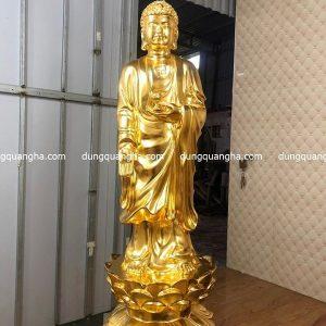 Tượng Tam Thánh Phật bằng đồng dát vàng 1m3 cao cấp