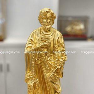 Tượng Thánh Giuse bằng đồng dát vàng cao 40cm