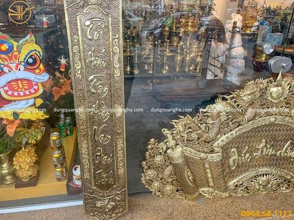 Bộ cuốn thư câu đối Đức Lưu Quang bằng đồng vàng mộc