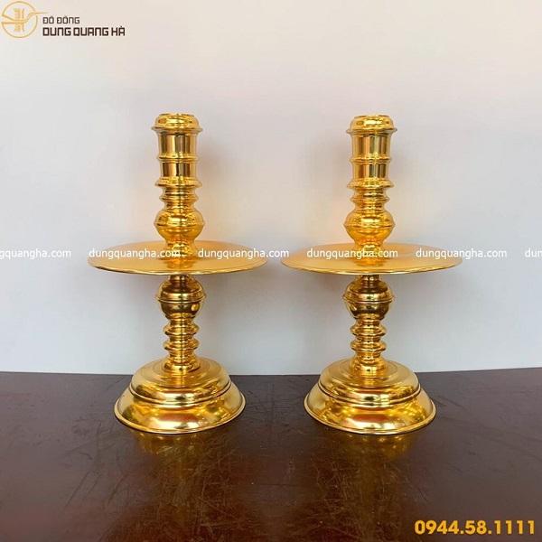 Bộ đồ thờ ngũ sự bằng đồng chạm sòi mạ vàng