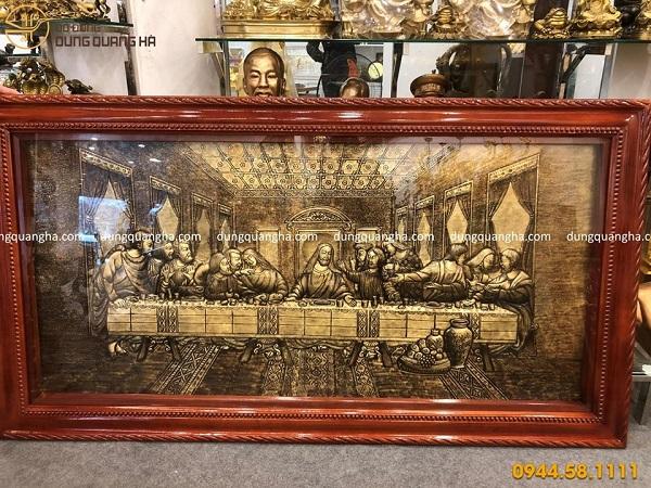 Bức tranh bữa tiệc ly bằng đồng xước giả cổ