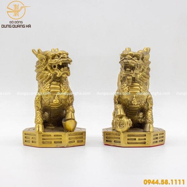 Cặp tượng Kỳ Lân bằng đồng vàng mộc mẫu thiết kế độc đáo