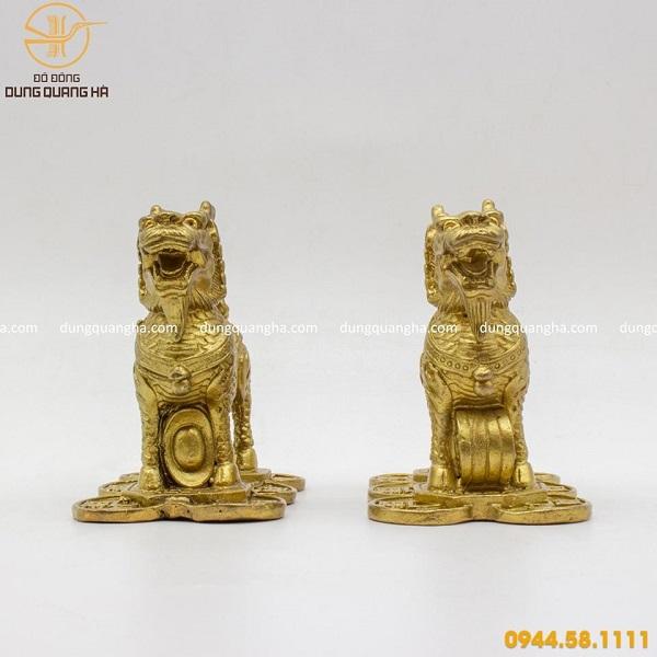 Cặp tượng Kỳ Lân phong thủy bằng đồng vàng mộc mẫu 2