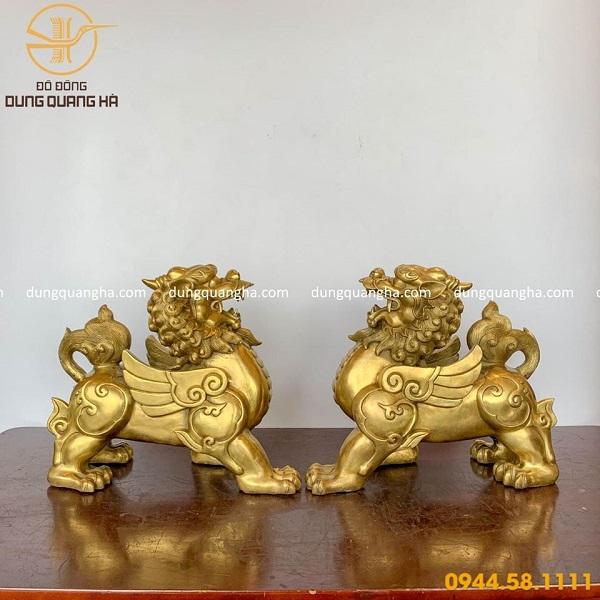 Cặp Tỳ Hưu phong thủy bằng đồng vàng mộc
