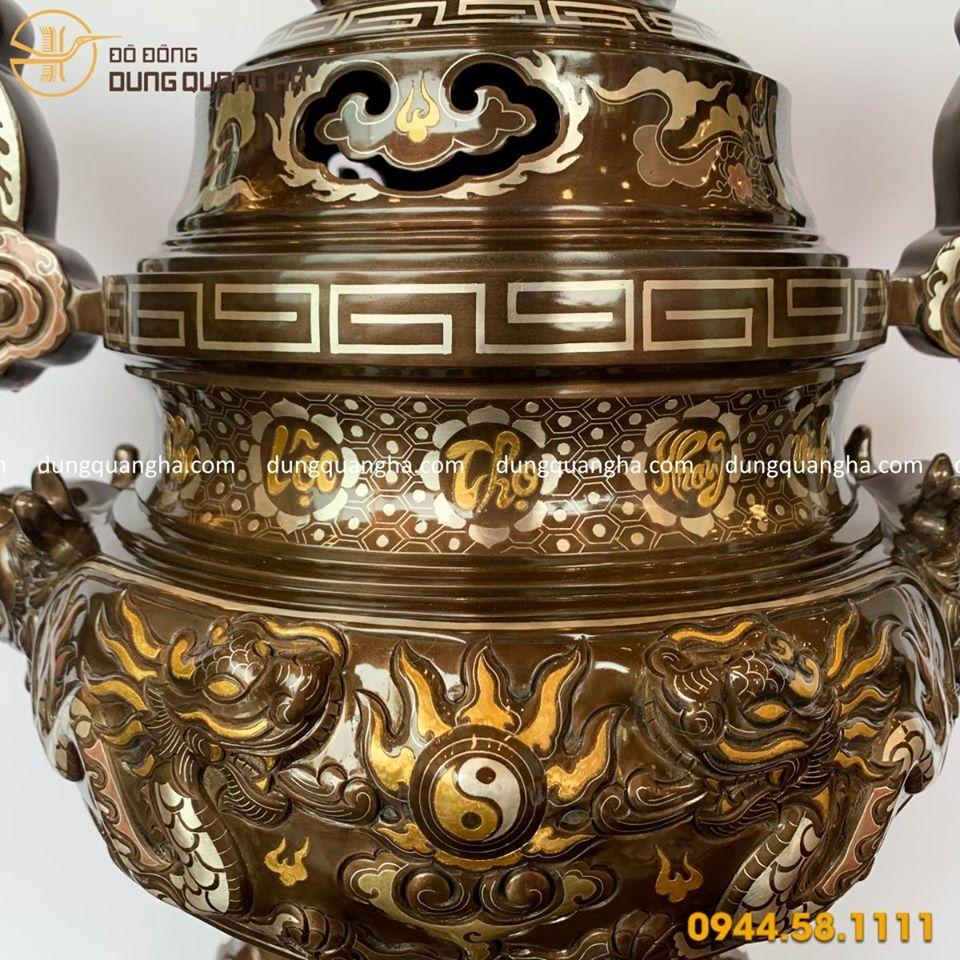 Đỉnh đồng thờ cúng khảm ngũ sắc cổ kính cao 70cm