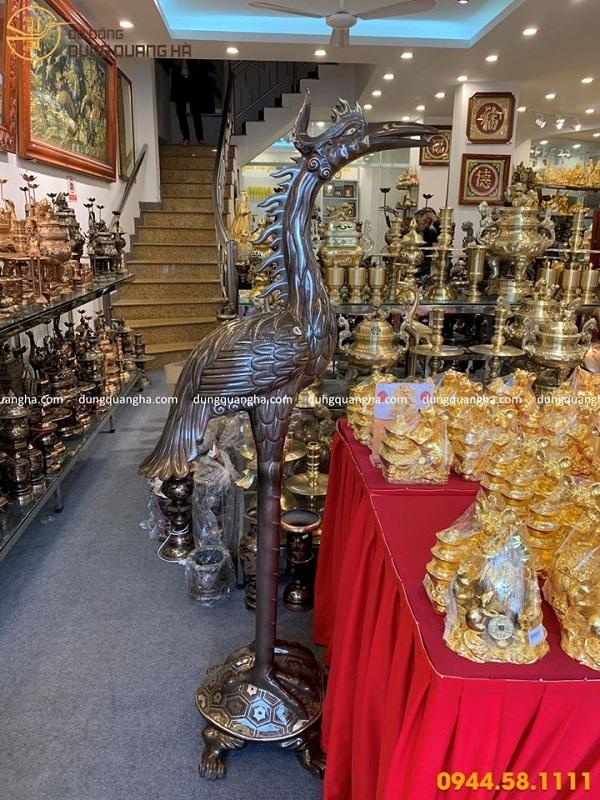Đôi hạc thờ bằng đồng cao 1m7 khảm ngũ sắc