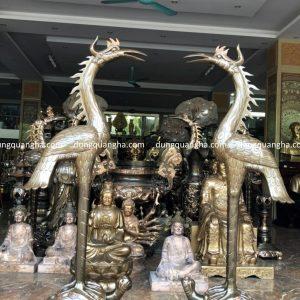 Đôi hạc thờ bằng đồng cỡ lớn cao 1m7 khảm tam khí