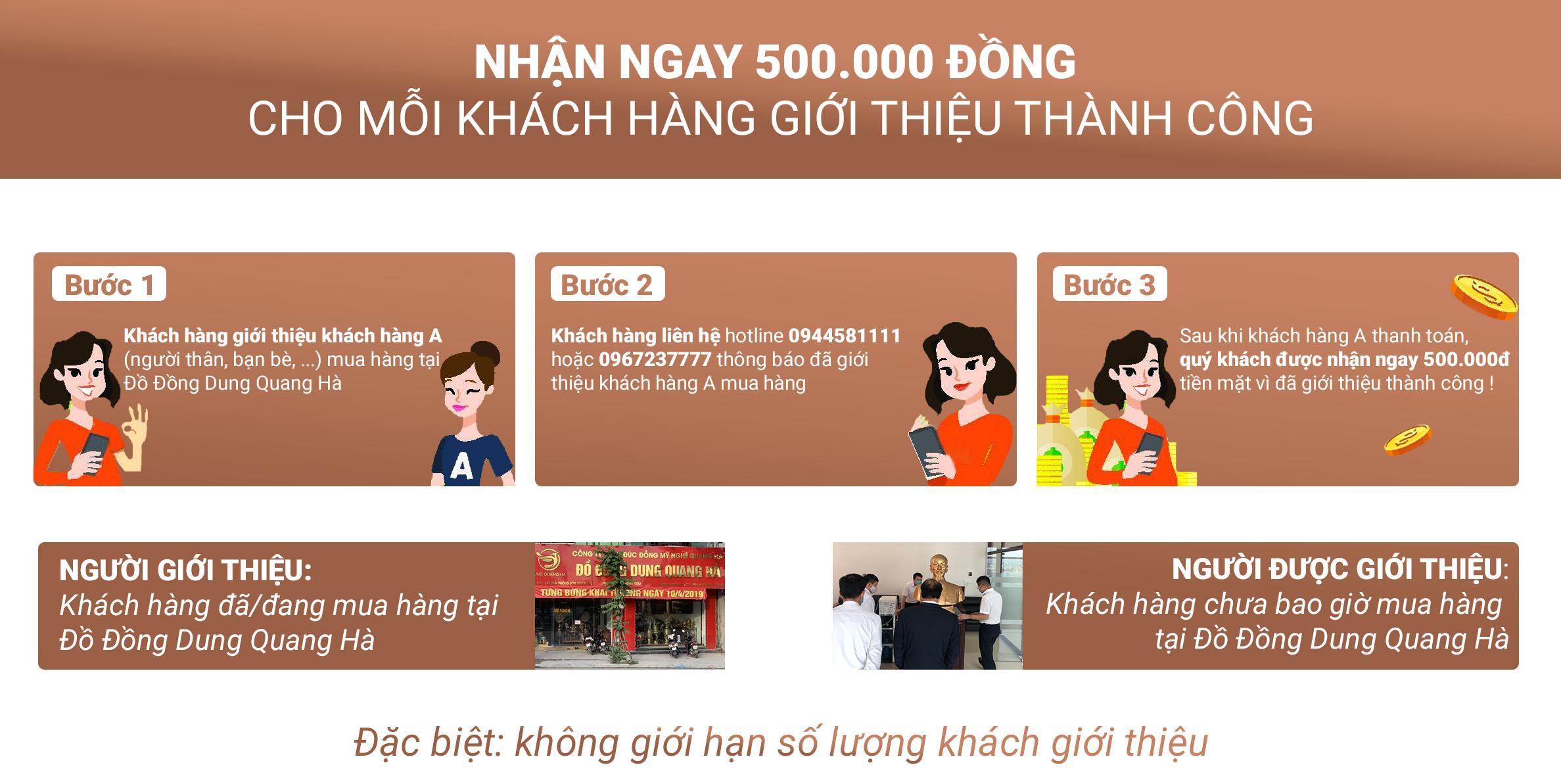 Giới thiệu khách hàng mới và nhận ngay quà tiền mặt từ Đồ Đồng Dung Quang Hà