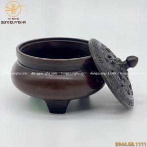Lư đốt trầm hương bằng đồng nắp hoa độc đáo