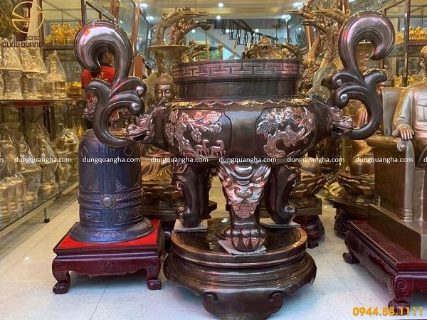 Lư hương đồng đỏ cạo màu cao 1m2 đường kính 50cm nặng 210kg