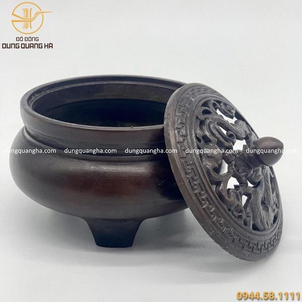 Lư xông trầm bằng đồng nắp hình Rồng cao cấp