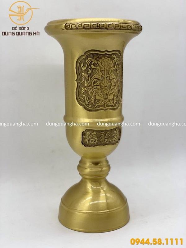 Ống cắm nhang bằng đồng vàng cao 33cm