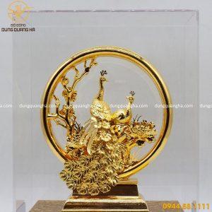 Quà lưu niệm bằng đồng mạ vàng 24k đôi chim công vinh hoa phú quý
