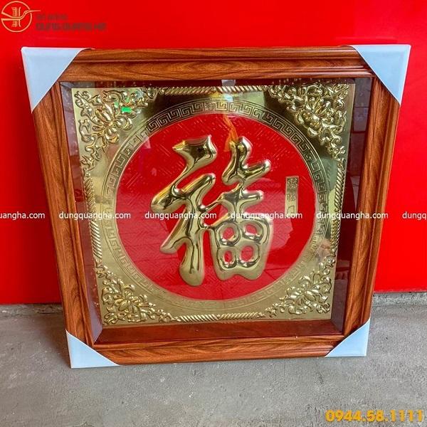 Tranh chữ Phúc bằng đồng mẫu 3 chữ Hán nền đỏ tinh xảo