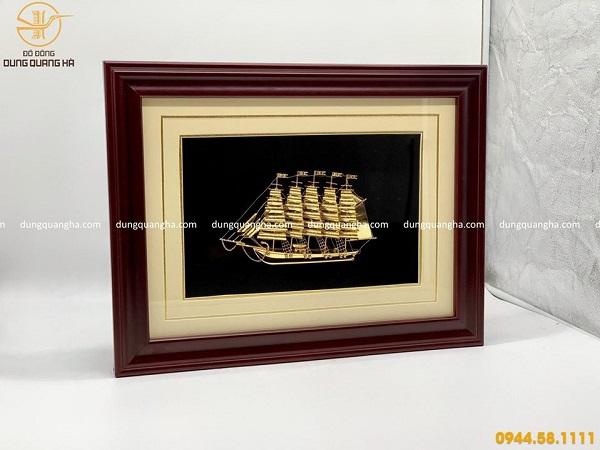 Tranh lưu niệm thuyền buồm mạ vàng đẹp tinh xảo