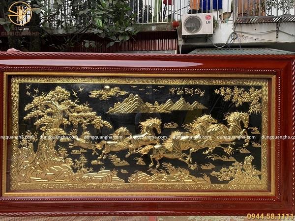 Tranh Mã Đáo Thành Công 1m7 bằng đồng mạ vàng 24k