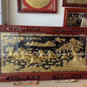 Tranh Mã Đáo Thành Công 2m3 dát vàng khung gỗ gụ