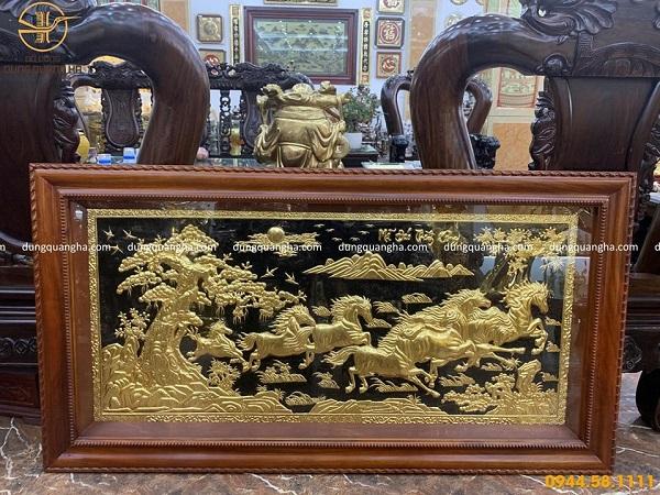 Tranh Mã Đáo Thành Công bằng đồng 1m7 dát vàng 9999