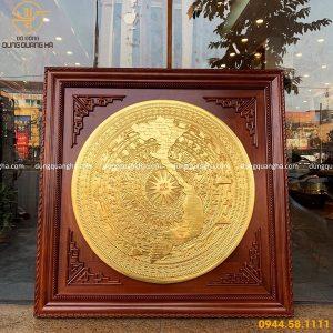 Tranh mặt trống đồng bản đồ Việt Nam mạ vàng 24k