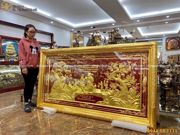 Tranh mừng thọ bằng đồng dát vàng hàng đặt cao cấp