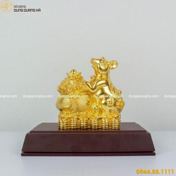 Tượng chuột phong thủy ôm túi vàng mẫu 2 đẹp tinh xảo