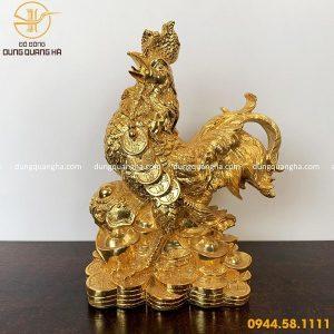 Tượng gà phong thủy mạ vàng 24k mẫu thiết kế độc đáo