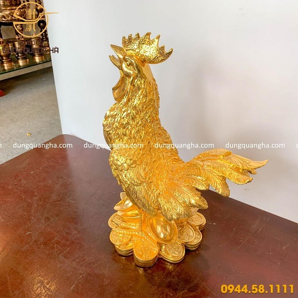 Tượng gà trống phong thủy bằng đồng mạ vàng cỡ lớn