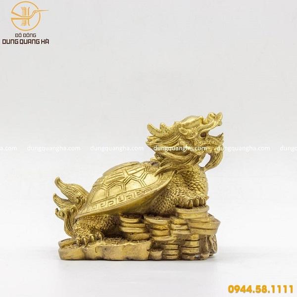 Tượng long quy bằng đồng vàng mộc
