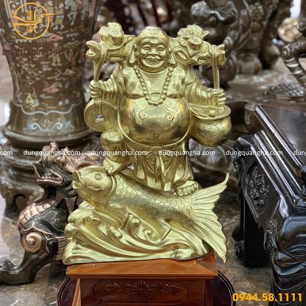 Tượng Phật Di Lặc cưỡi cá chép bằng đồng cattut cao 50cm